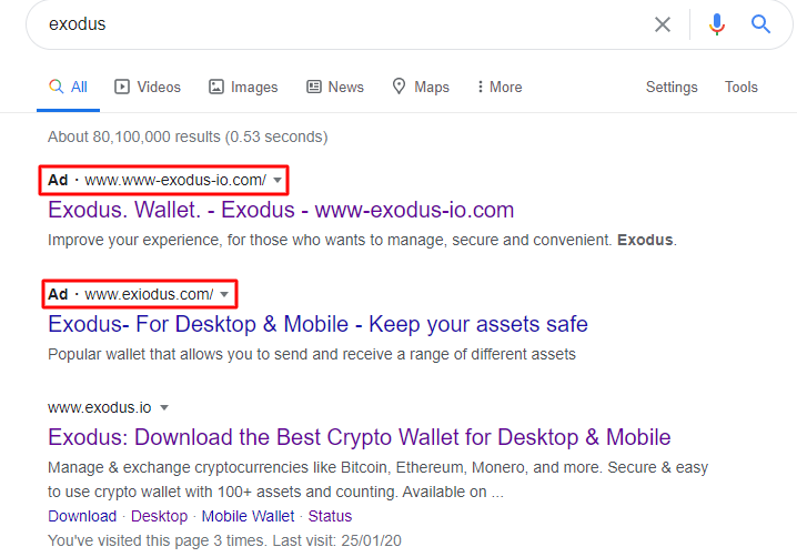 Lažni sajt Exodus softverskog novčanika - prevare